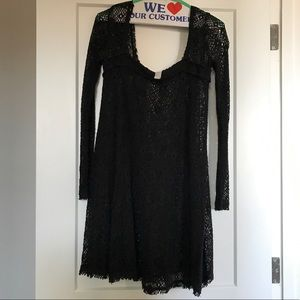 Free People black crochet swing dress | small